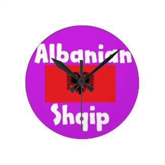 Albania Language And Flag Design Round Clock