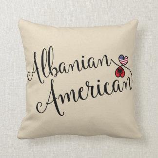 Albanian American Entwined Hearts Throw Cushion