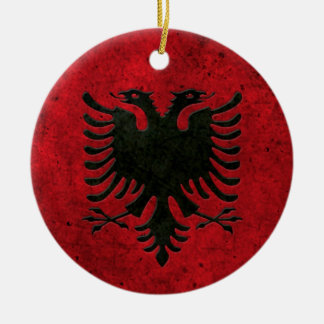 Albanian Flag Aged Steel Effect Christmas Tree Ornament