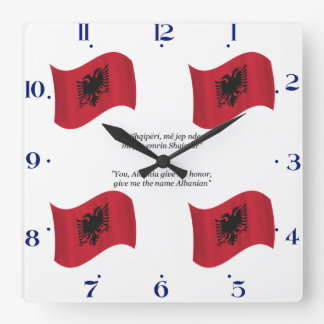 Albanian Flag and Motto Square Wall Clock