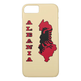 Albanian Flag in Outline Map of Albania iPhone 7 Case