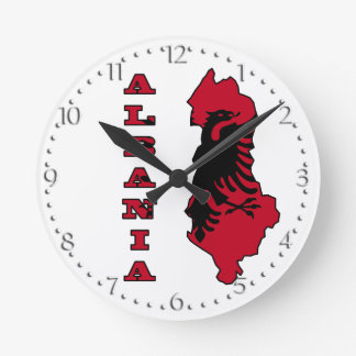 Albanian Flag in Outline Map of Albania Wall Clocks