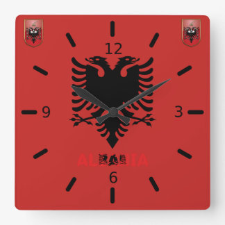 Albanian flag square wall clock