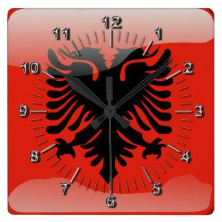 Albanian glossy flag square wall clock
