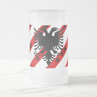 Albanian stripes flag frosted glass beer mug