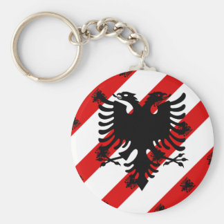 Albanian stripes flag key ring