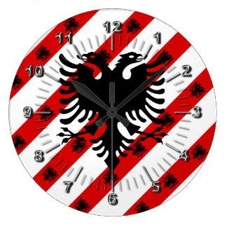 Albanian stripes flag large clock