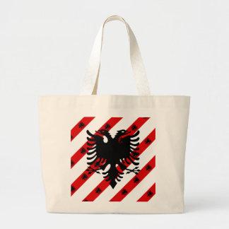 Albanian stripes flag large tote bag
