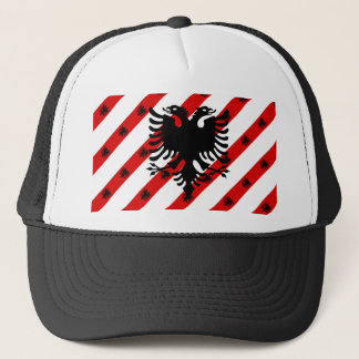 Albanian stripes flag trucker hat