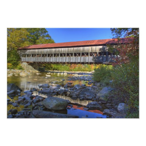 Albany covered bridge over Swift River, White Photographic Print