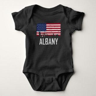 Albany New York Skyline American Flag Distressed Baby Bodysuit