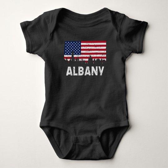 Albany NY American Flag Skyline Distressed Baby Bodysuit