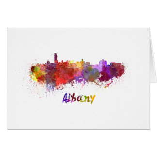 Albany skyline in watercolor card