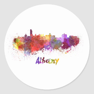 Albany skyline in watercolor classic round sticker