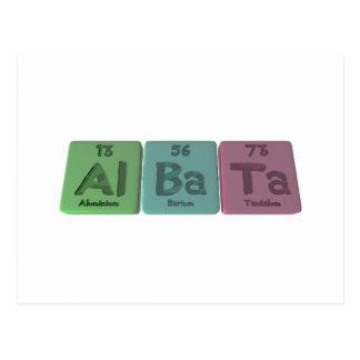 Albata-Al-Ba-Ta-Aluminium-Barium-Tantalum Post Cards