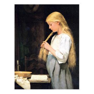 Albert Anker, Mädchen die Haare flechtend Postcard