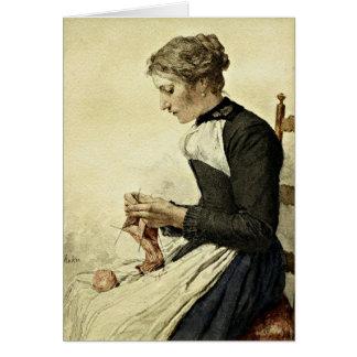Albert Anker - Young Woman Knitting Card