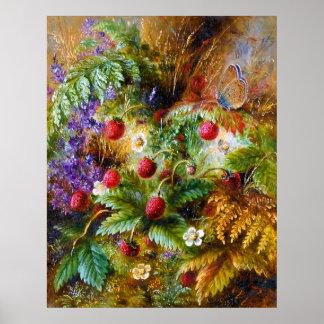 Albert Dürer Lucas: Wild Strawberries & Butterfly Poster
