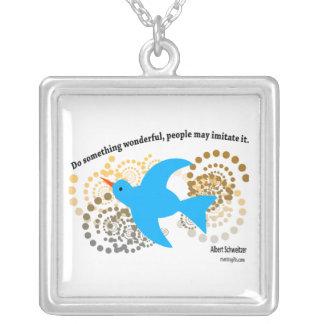 Albert Schweitzer Quote Bracelet Silver Plated Necklace
