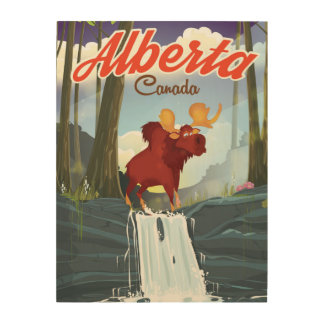 Alberta Canada cartoon travel poster