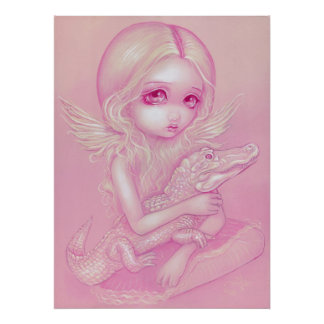 Albino Alligator Angel big eye lowbrow Art Print