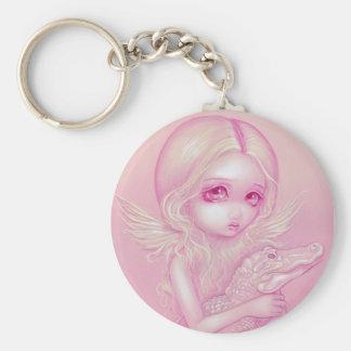 """Albino Alligator Angel"" Keychain"