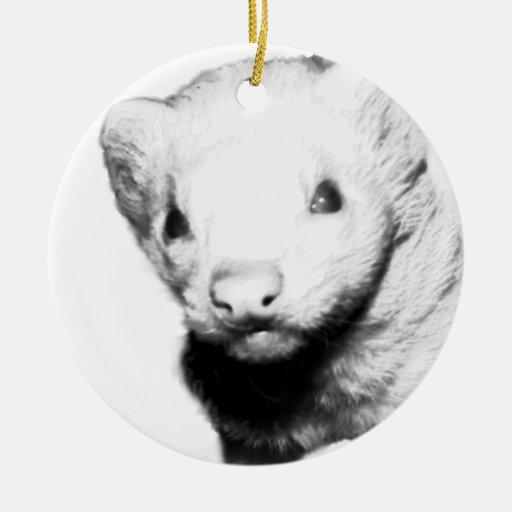 Albino Ferret Picture Christmas Ornament