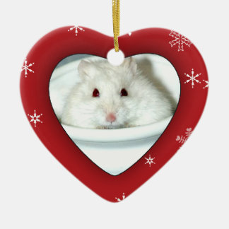 Albino Hamster Photo Ceramic Heart Decoration