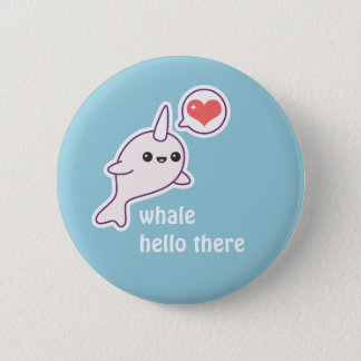 Albino Narwhal 6 Cm Round Badge