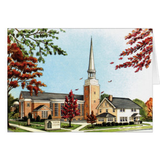 Albion College in the fall, Goodrich Chapel Card