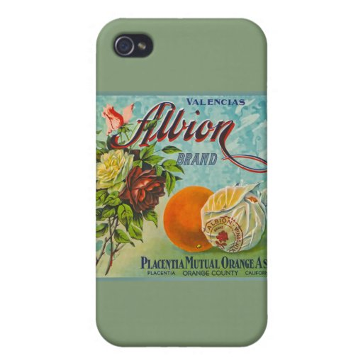 Albion Oranges Fruit Crate Label Covers For iPhone 4