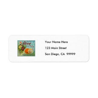 Albion Oranges Fruit Crate Label Return Address Label
