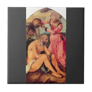 Albrecht Durer - Job mocked by his wife Ceramic Tile