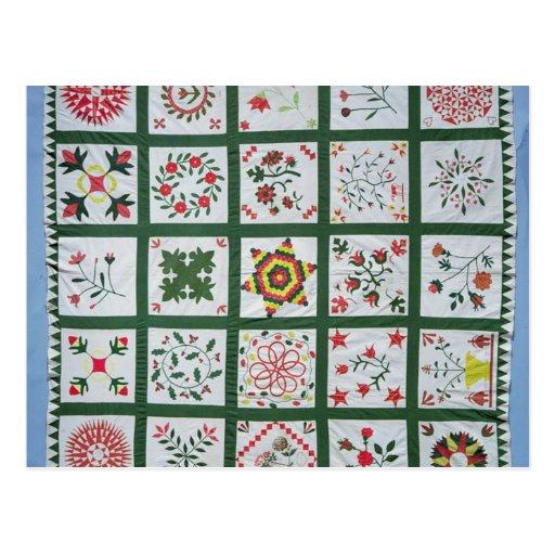 Album quilt with season flowers, 1844 postcards