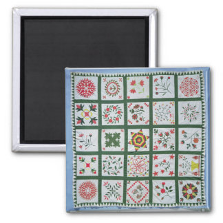 Album quilt with season flowers, 1844 square magnet