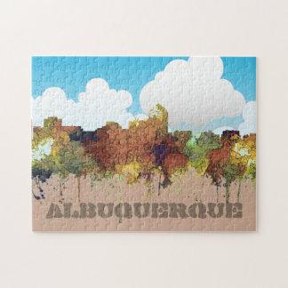 Albuquerque, NM Skyline - SG - Safari Buff Jigsaw Puzzle