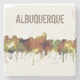 Albuquerque, NM Skyline - SG - Safari Buff Stone Beverage Coaster