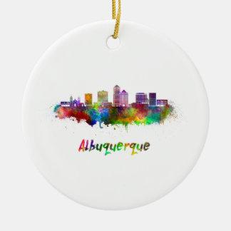 Albuquerque skyline in watercolor ceramic ornament
