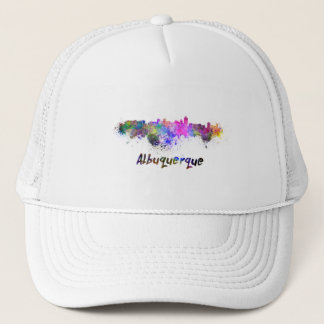 Albuquerque skyline in watercolor trucker hat