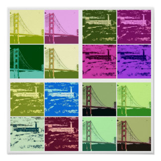 Alcatraz and Golden Gate Bridge Pop art poster