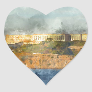 Alcatraz Island in San Francisco California Heart Sticker