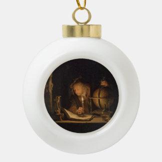 Alchemist Philosopher Reading Ceramic Ball Christmas Ornament