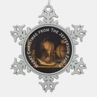 Alchemist Philosopher Reading Personalized Snowflake Pewter Christmas Ornament