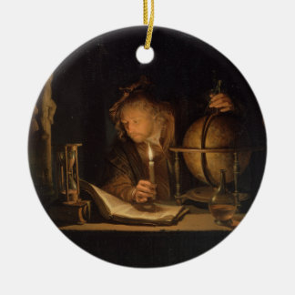 Alchemist Philosopher Reading Round Ceramic Decoration