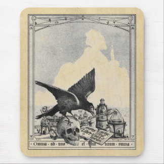 Alchemy Laboratory Raven and Human Skull Sepia Mouse Pad