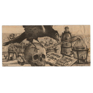 Alchemy Laboratory Raven and Human Skull Wood USB Flash Drive
