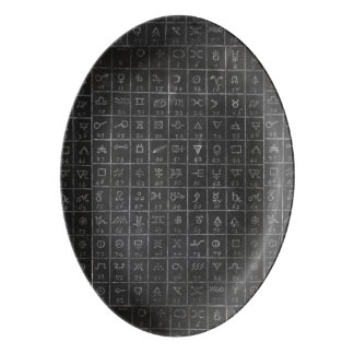 Alchemy Symbols Black Blackboard Chalkboard Porcelain Serving Platter