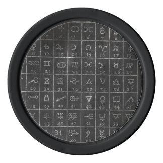 Alchemy Symbols Black Chalkboard Golf Ball Marker Set Of Poker Chips