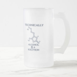 Alcohol, A Solution Frosted Glass Beer Mug