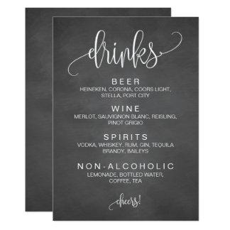 Alcohol Cocktail Drinks Bar Editable Wedding Sign Card